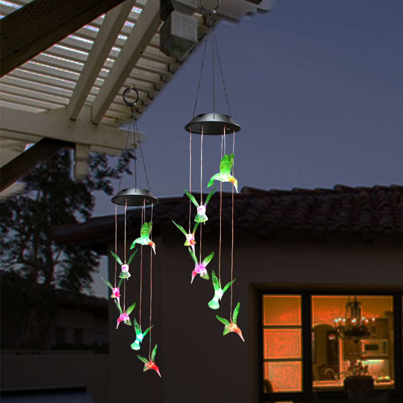 Humming Bird LED Solar Light Romantic Windbell Lights Wind Chime Light String Lamp Color Changing For Patio Yard Decor