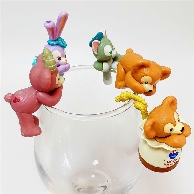 10set PVC Duffy Bear for cup Kawaii In Pajamas Action Figure Dolls Toy Collection Figure Toy Gift Wholesale 2