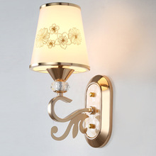 Simple European Stylish Glass Bedroom Bedside Wall Lamp Living Room Corridor LED Gold E27 Wall Light european style tiffany colored glass wall light creative retro aisle corridor balcony bedroom wall lamp beauty wall light