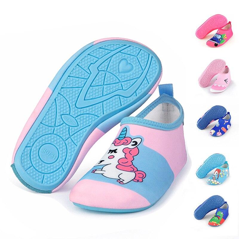 Пляжная обувь с единорогом для мальчиков и девочек; Нескользящая домашняя обувь для малышей; Мягкая домашняя обувь для малышей; Носки для пл...