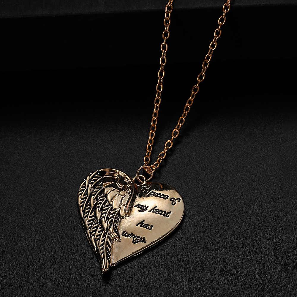 Novo 1 pc anjo asa coração forma pingente colar carta um pedaço de meu coração tem asas colar elegante strass pingente jóias