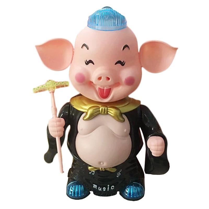 Electronic Toys Pig Dancing Music Walking Toy Singing Musical Lighting For Children Kid Toys For Children,Black