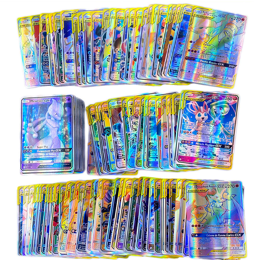 French Pokemon Card 100 Tag Team 200 Gx and 300GX English for Shining Battle Carte Card Game For Children Toy