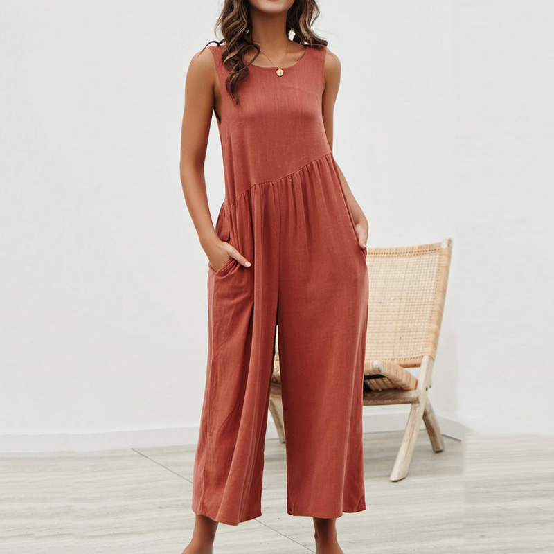 Off Shoulder Tank Jumpsuit Women Summer Backless Wide Leg Romper Casual Loose Long Bodysuits Beach Vest Playsuit Overalls Female