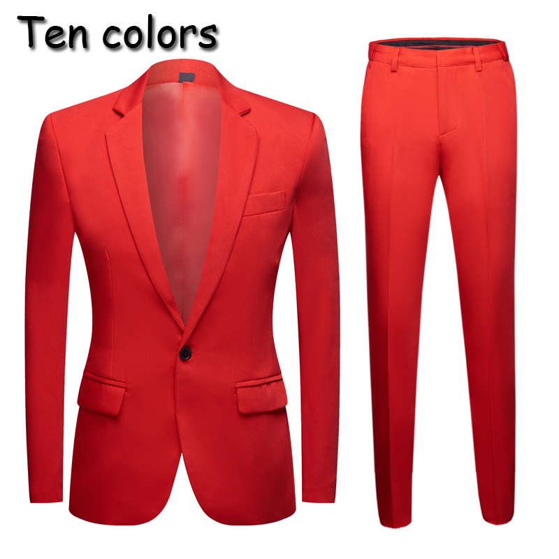New Tide Men Colorful Fashion Wedding Suits Plus Size Yellow Pink Green Blue Purple Suits Jacket Pants  2Pcs Tuxedos