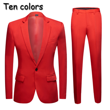 new Tide Men Colorful Fashion Wedding Suits Plus Size Yellow Pink Green Blue Purple Suits Jacket Pants  2Pcs Tuxedos аксессуар комплект bluelounge cabledrop cd br yellow pink green