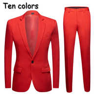 new Tide Men Colorful Fashion Wedding Suits Plus Size Yellow Pink Green Blue Purple Suits Jacket Pants 2Pcs Tuxedos