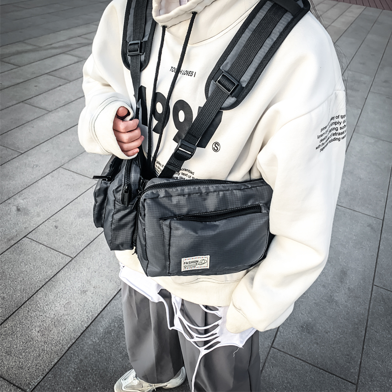 Tactical Chest Bags Men Streetwear Style Hip Hop Two Pockets Waist Pack Fashion Shoulder Holsters Strap SideBag For Women