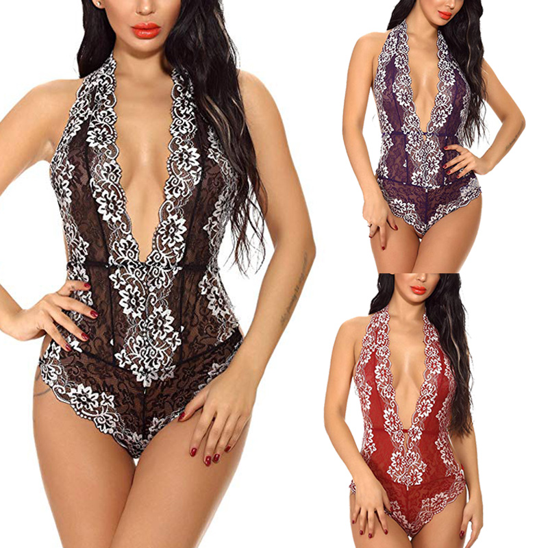 Women  Sexy Backless Floral Lace Bodysuit  Transparent Female Body Hot Sexy Teddies Jumpsuits Women Deep V Sheer Bodysuits New