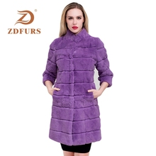 ZDFURS* 2019 Real rex rabbit Fur Coat Women Jacket Festival  Rabbit fur outerwear winter coat