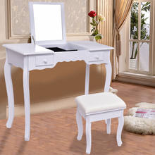 Vanity Dressing Table Set Mirrored Bedroom Bathroom Furniture With Stool Table Modern Makeup Dressers Desk HW56231(China)