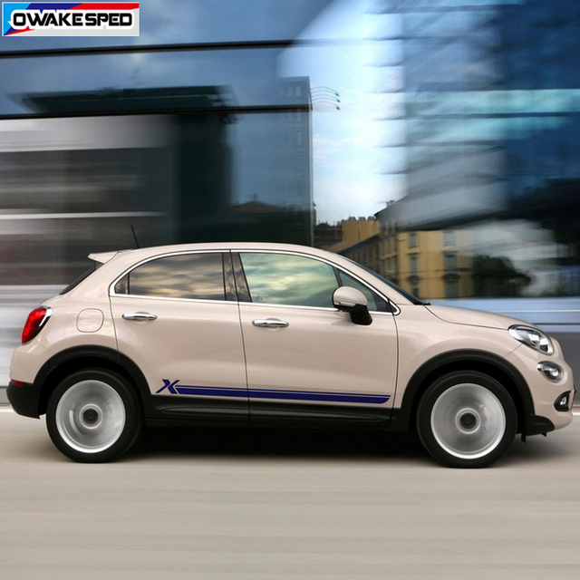 For Fiat-500X Sport Stripes Car Door Side Skirt Sticker Auto Body Decor Vinyl Decal Racing Styling Exterior Accessories 2