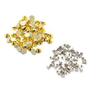 Image 5 - KALASO 100 مجموعات الفضة الذهب الأسود مطلي الاكريليك مخروط فاسق ترصيع المسامير المسامير للأحذية حقيبة الملابس الديكور 6.4x5.1mm
