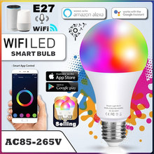 Inteligente wi fi lâmpadas rgb b22 e27 app controle conectado alexa led luz ou controle remoto led lampas decoração festa lâmpada de automação residencial