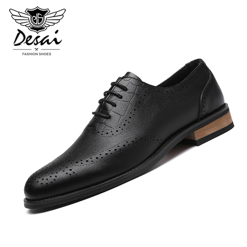 2020 Men's Genuine Leather Casual Shoes Elegant Mens Business Dress Shoes Men Lace-up Brogue Carved Fashion Leather Shoes