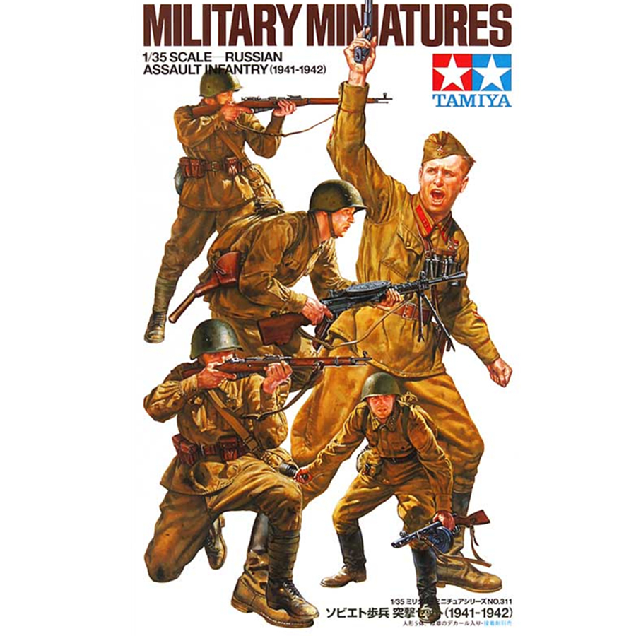 Tamiya 35311 <font><b>Model</b></font> Doll <font><b>Building</b></font> <font><b>Kits</b></font> <font><b>1/35</b></font> Russian Assault Infantry 1941-1942 Set Miniatures Assembly Military figures <font><b>Model</b></font> Toy image