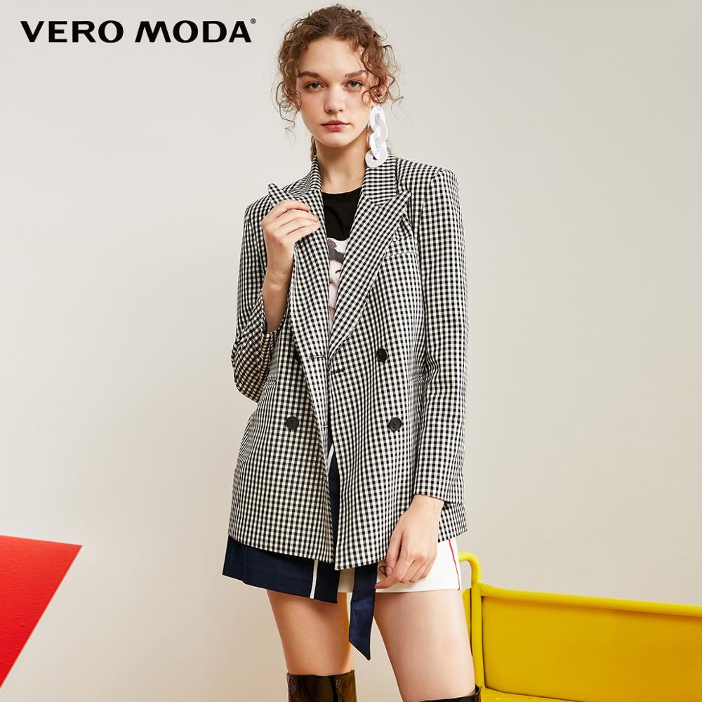 Vero Moda New Women's Lapel Plaid Double-breasted Suit Jacket | 319308586
