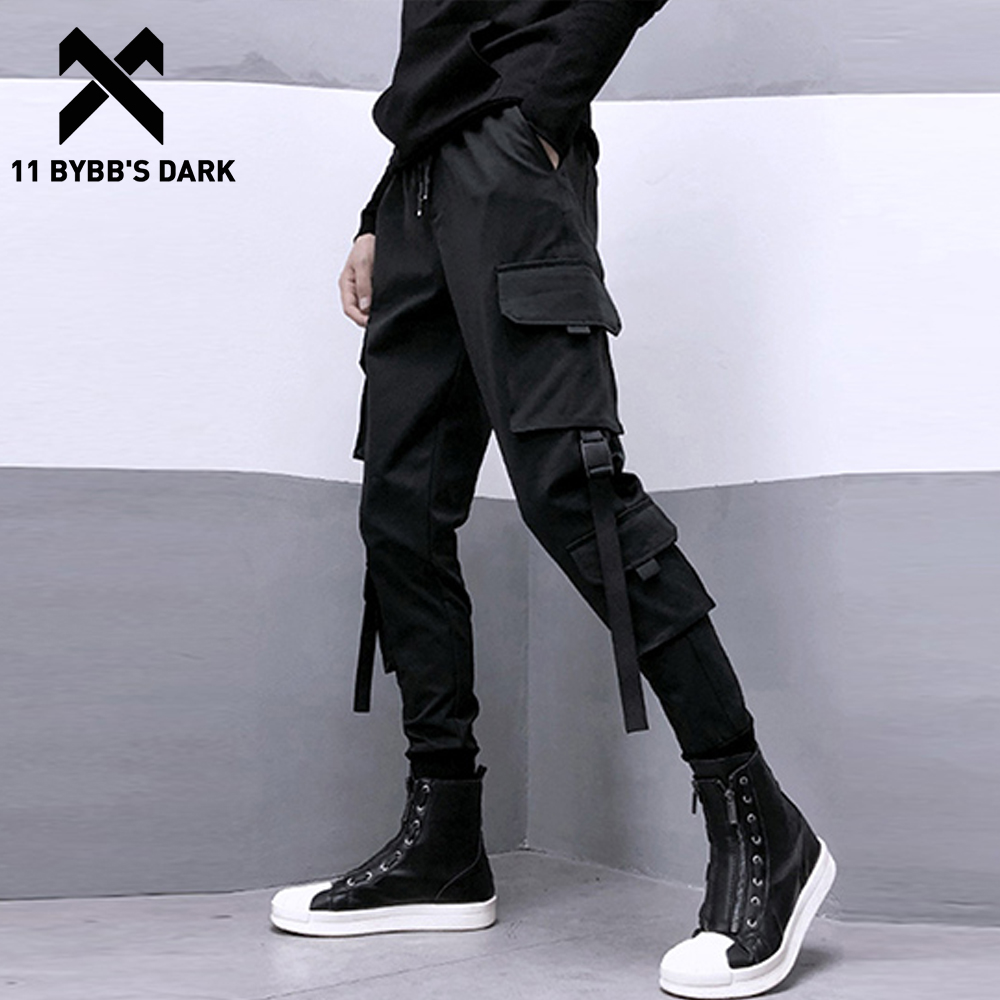 11 BYBB'S DARK Multi Pockets Ribbons Harem Cargo Pants 2019 Harajuku Casual Cargo Joggers Pants Mens Korean Streetwear
