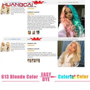 Image 4 - Mittelteil 613 Blonde Spitze Teil Menschliches Haar Perücke Pre Gezupft 150% Brasilianische Körper Welle Honig Blonde 13x1 spitze Perücken Remy Menschenhaar