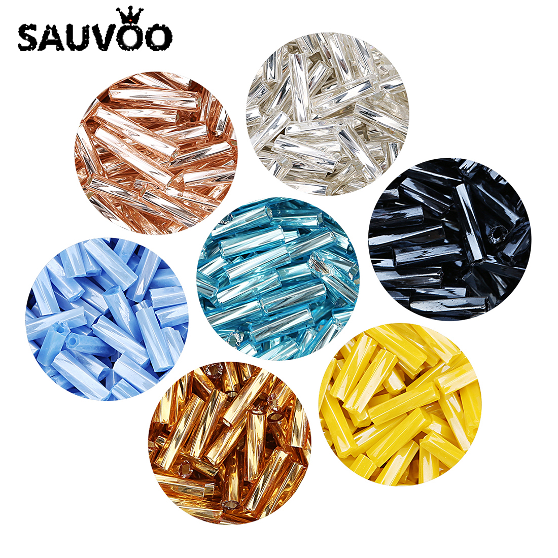SAUVOO 1000 teile/los Delica Miyuki Tschechische Zylindrischen Glas Bugle Perlen Europäische Saatgut Lange Rohr Lose Perlen für Schmuck Machen