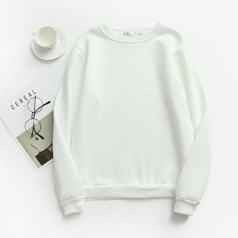 Women Solid Sweatshirts Korean Style Autumn Ladies Student Round Neck Long Sleeve Loose Pullover Tops WDC6301 13