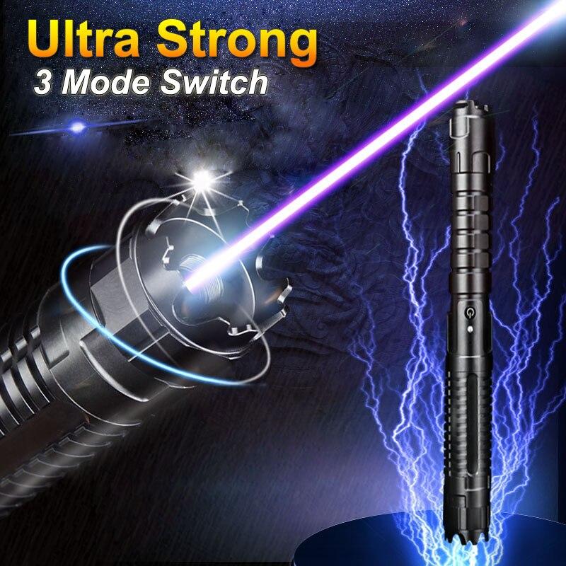 JSHFEI 10 миль реальная мощность военный 3 Mode 450nm Фокусируемый синий сжигающий лазер с замком и чехол (черный)