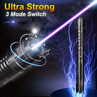 Jshfei 10 milhas de potência real militar 3-mode 450nm focalizável azul queima laser com fechadura e caso (preto)