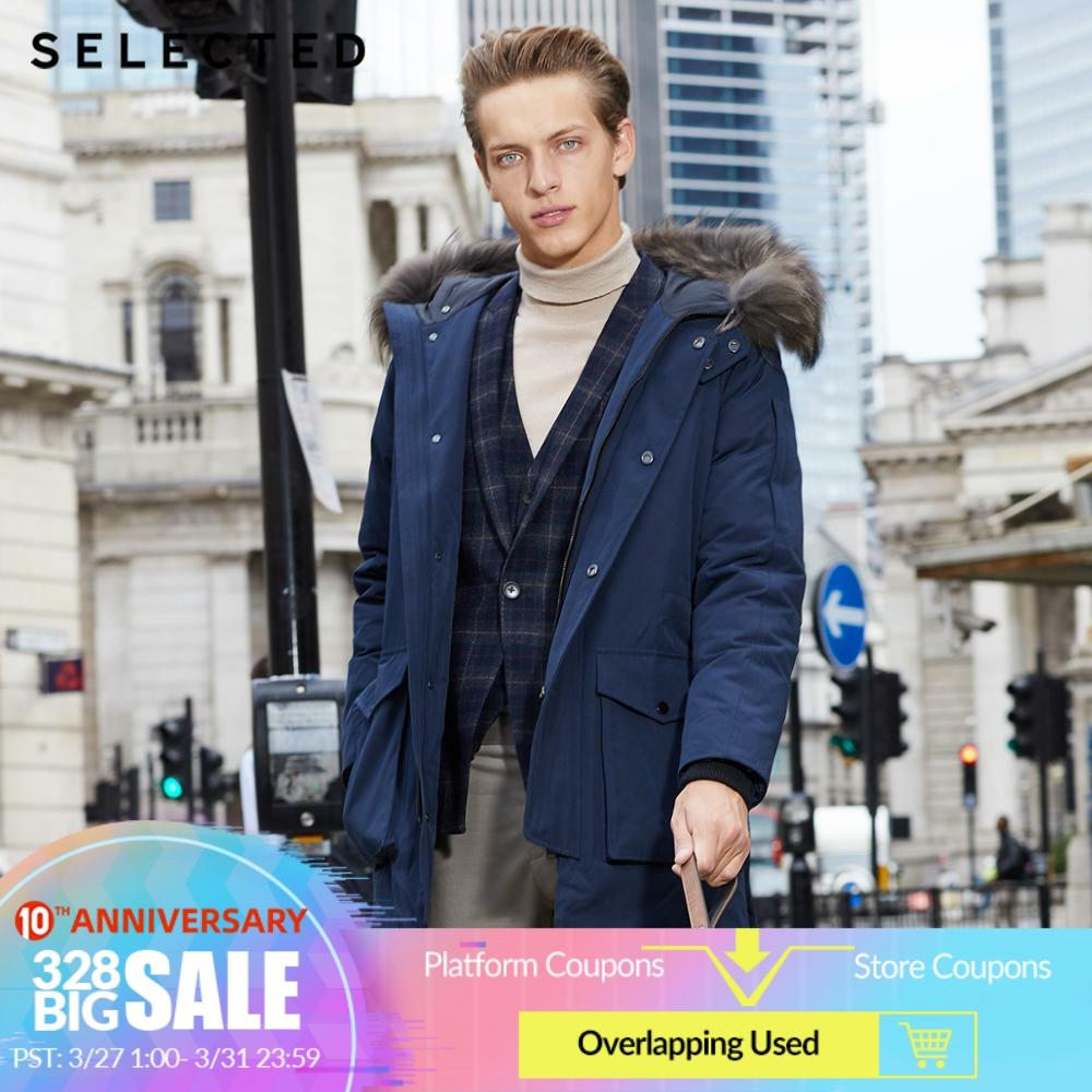 SELECTED Men's Winter Raccoon Fur Collar Parka Down Jacket Warm Long Clothes Big Pockets Medium Style Coat S|418412535