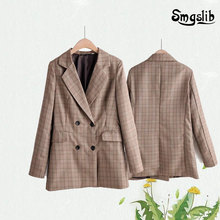New vintage women striped long jackets 2019 autumn fashion ladies notched collar coats female double-breasted coat feminine chic
