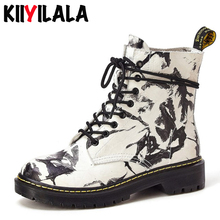 Kiiyilala Genuine Leather Chelsea Boots Hand-painted Lace-up round Toe Non-slip Ankle Boots For Women Big Size Shoes Short Boots цена
