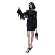 Evening Dress O-neck Zipper Tassel Women Party Dresses Latest Elegant Sequin Robe De Soiree Long Sleeve Formal Gowns 2019 F070