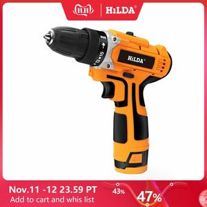 Image 1 - HILDA 12V Electric Drill With Rechargeable Lithium Battery Electric Screwdriver Cordless Screwdriver Two speed Power Tools
