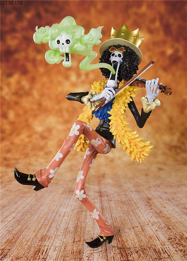NEW hot 23cm Japan Anime ONE PIECE 20th Anniversary The Straw Hat Pirates BROOK Burukku PVC Action Figure Model Brinquedos ToysAction & Toy Figures   -