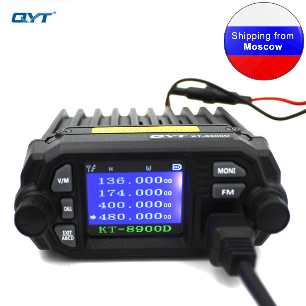 QYT KT-8900D 25W Mini Mobile Radio Dual Band 136-174&400-480MHz Quad Display LCD Display  FM Transceiver KT8900D Walkie Talkie