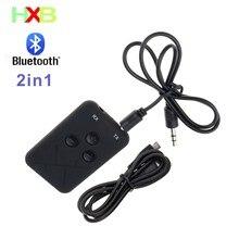 HXB Receptor y transmisor Bluetooth para coche, 3,5mm, Audio AUX, Bluetooth, Receptor de PC, TV, teléfono, llamada manos libres, 2 en 1