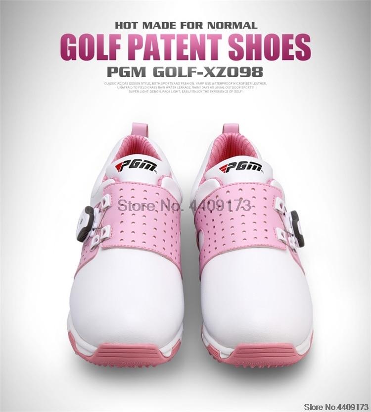 Pgm mulher sapatos de golfe de couro