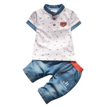 2PCS Toddler Baby Boys t-shirt+denim short pants child Kids Short Sleeve Turn-down Collar Paisley tops Clothes Outfits A40(China)