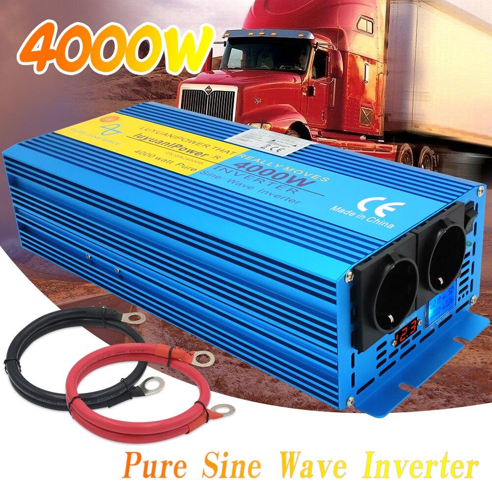 4000 Вт пиковый ЖК дисплей чистая Синусоидальная волна инвертор выход/домашний DC12V к AC 220 В двойная Европейская розетка новый инвертор Инверторы для авто      АлиЭкспресс