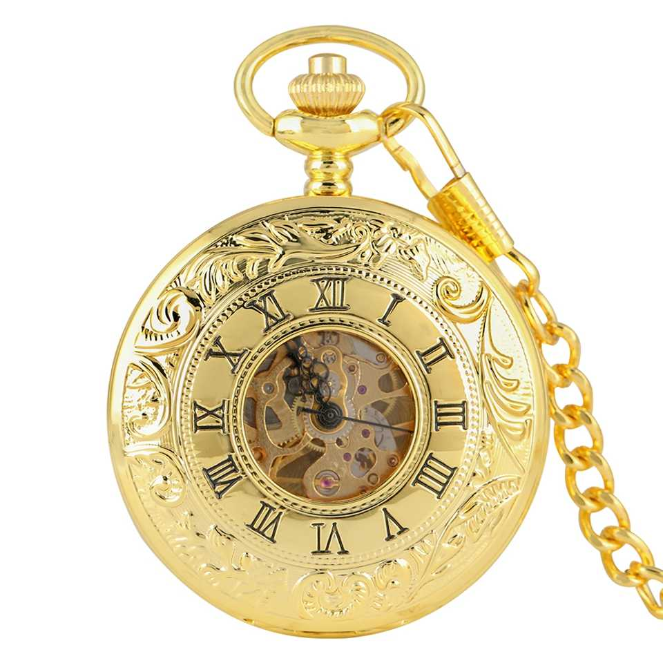 Top Luxury Gold Color Antique Mechanical Skeleton Pocket Watch Hand Winding Double Open Side Chain Hour Clock Reloj De Bolsillo