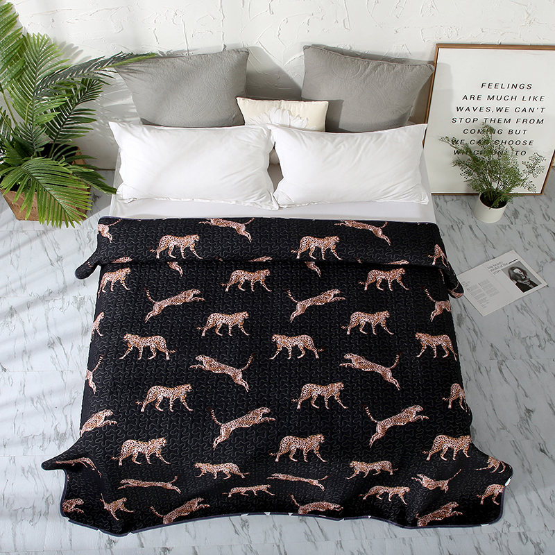 Leopard, Geometry, Plant Printing 1PCS Cotton 150x200cm And 200x230cm Bedspread/Soft Black Blanket Duvet Quilt Bed Cover