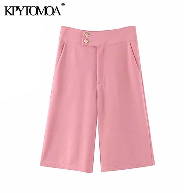 KPYTOMOA Women 2020 Chic Fashion Office Wear Straight Half Pants Vintage High Waist Zipper Fly Side Pocket Female Trousers Mujer