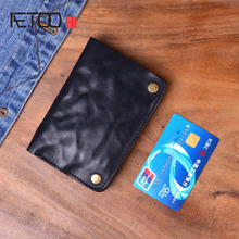 AETOO The original male wallets lady wrinkle leather handmade wallets billfold vertical vintage wallets