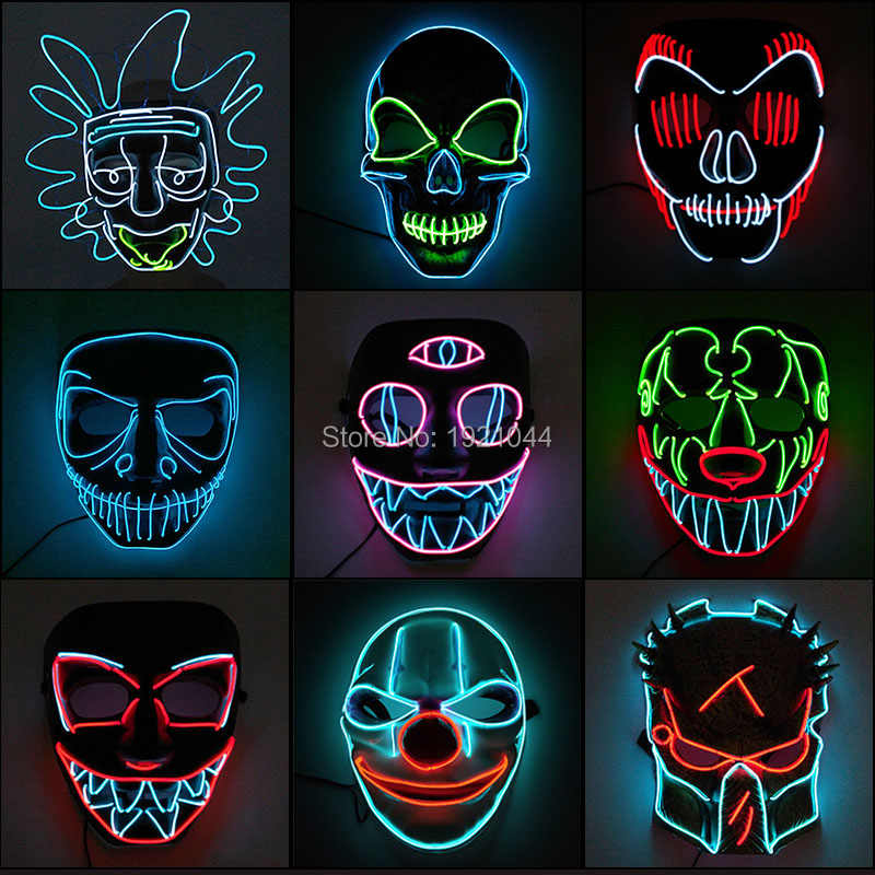 2019 Hot Fashion Berkedip LED Masker Neon El Neon Pesta Topeng LED Festival Halloween Horror Partai Masker Drop Pengiriman pc