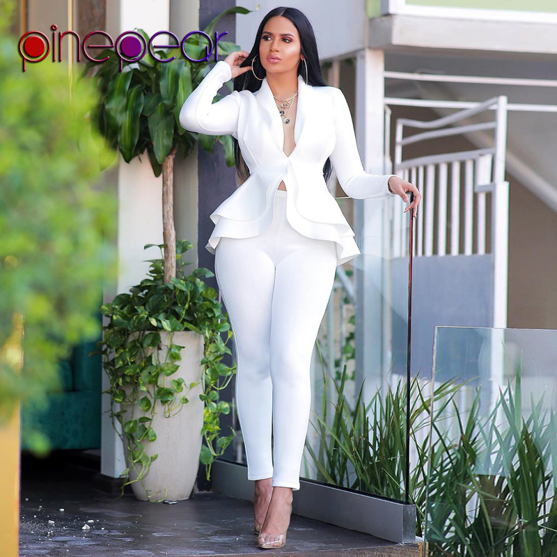 PinePear Cascading Ruffle Blazer And Pants 2 Piece Set Women 2020 Winter Elegant Business Formal Party Pant Suits Dropshipping