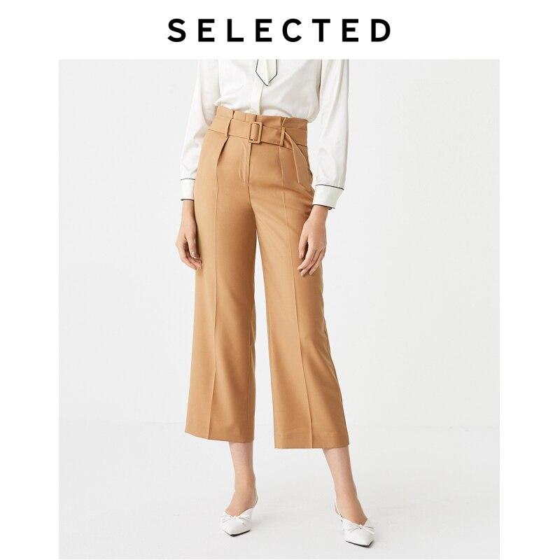 SELECTED Women's Autumn Woolen Belt Design Wide-leg Pants SIG|419318512