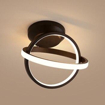 Artpad Modern Ceiling Lamp Hallway Aisle Balcony Nordic Wrought Iron LED Ceiling Light Indoor Lighting 20W Black White AC90-260V 1