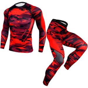Mens Compression Sets Tshirt Men Bodybuilding Tracksuit Elastic T Shirt Long Sleeve Tops Fitness Workout Tight Shirts Men