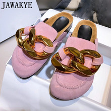 Chain Mules Shoes Lazy-Loafers Beach-Slippers Women's Platform Gold Outdoor Flat Round-Toe
