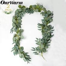OurWarm 2M Artificial Fake Eucalyptus Garland Willow Green Long Leaf Plants Greenery Foliage Wall Hanging Home Garden Decor(China)