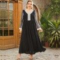 Узнайте мечта размера плюс для женщин с v-образным вырезом с длинными рукавами с модным принтом мозаика раза талии модные Платье черного цве...